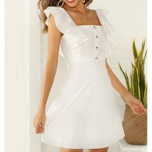 White Ruffle Sleeve Fit & Flare Summer Short Dress